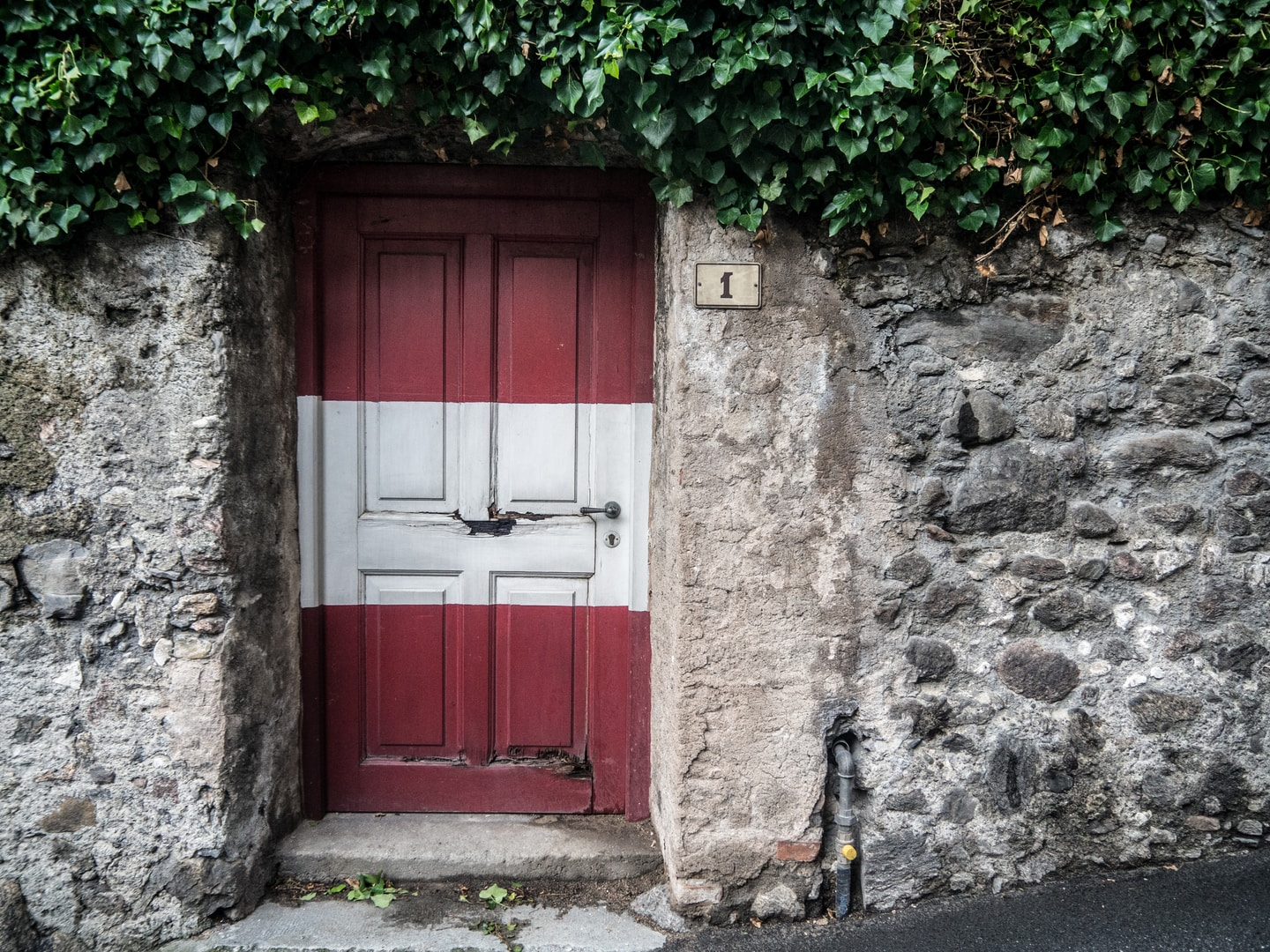 closed white and red door
